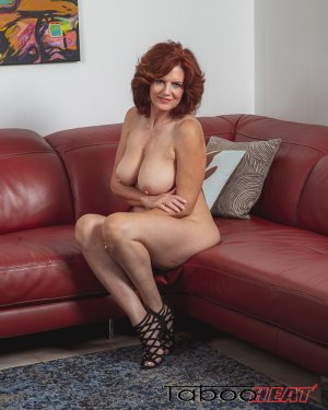andi james, nude, sitting, natural tits, big boobs, red head