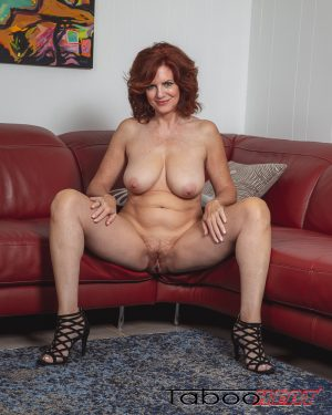 andi jame, sitting, nude, read head, all natural, big boob, bush